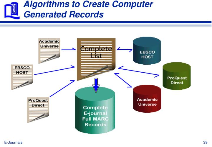 Algorithms to Create Computer Generated Records
