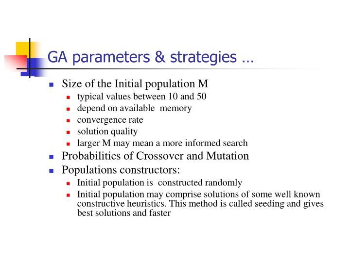 GA parameters & strategies …