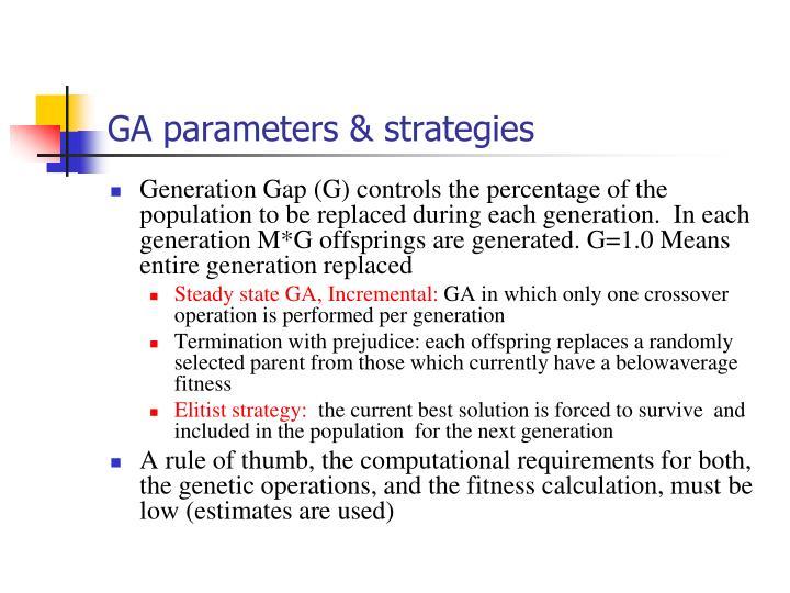 GA parameters & strategies