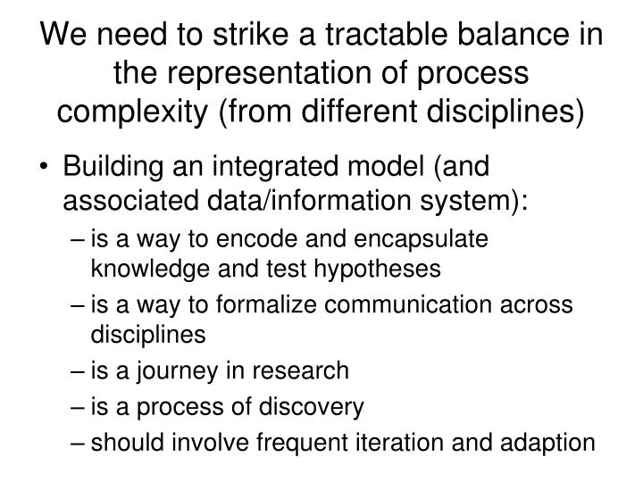 We need to strike a tractable balance in the representation of process complexity (from different disciplines)