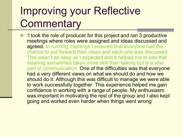 Improving your Reflective Commentary