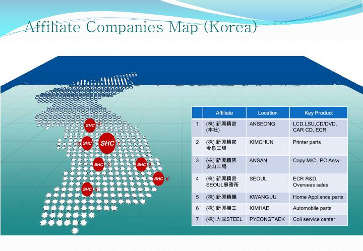Affiliate Companies Map (Korea)