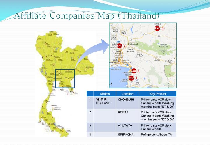 Affiliate Companies Map (Thailand)