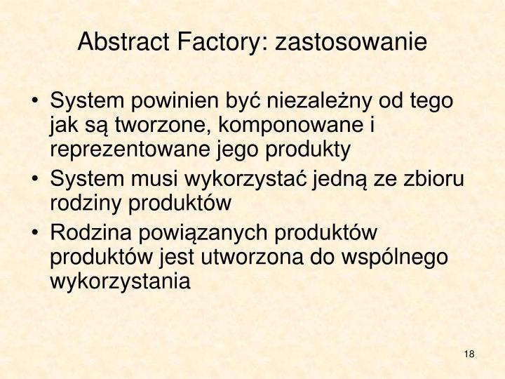 Abstract Factory: zastosowanie