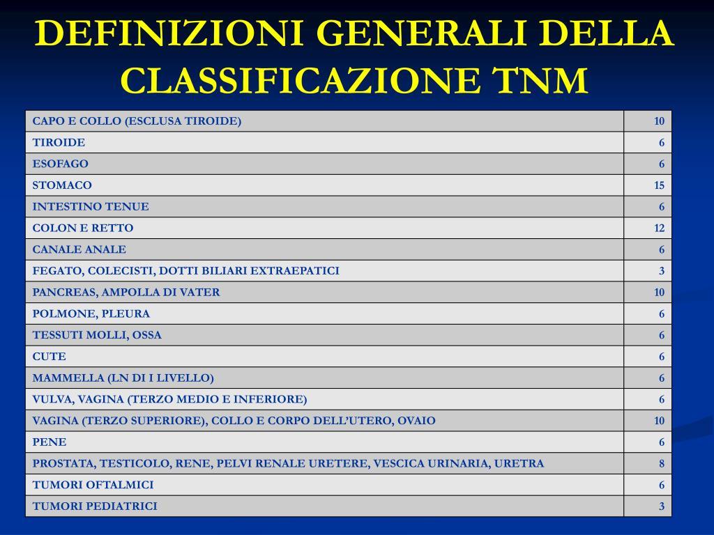 carcinoma prostatico classificazione tnm