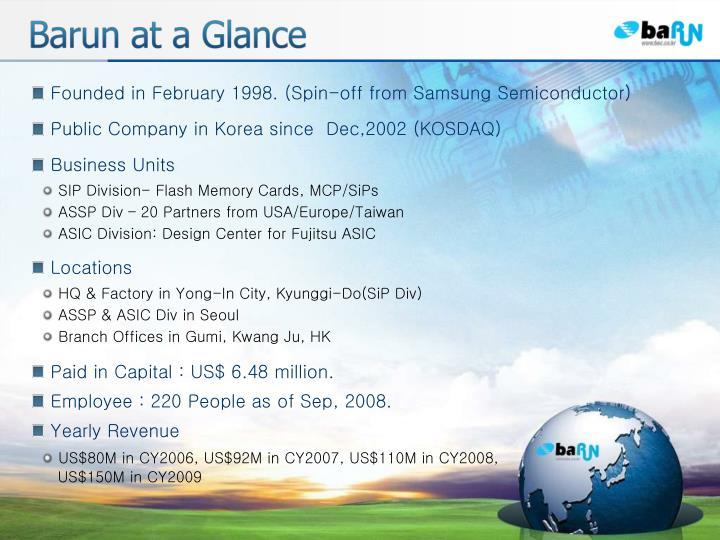 Founded in February 1998. (Spin-off from Samsung Semiconductor)