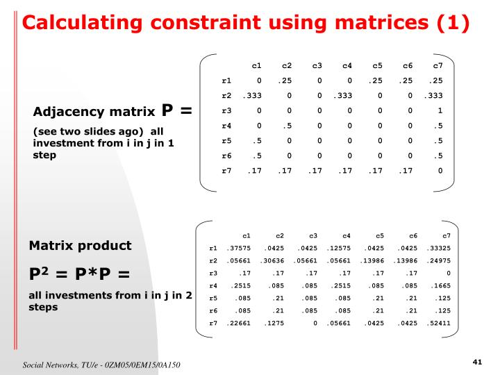 Calculating constraint using matrices (1)