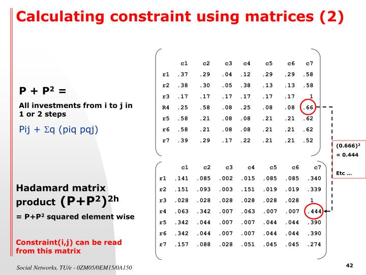 Calculating constraint using matrices (2)