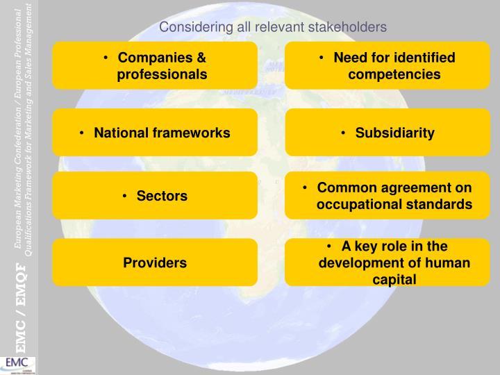 Considering all relevant stakeholders