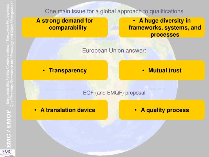 One main issue for a global approach to qualifications