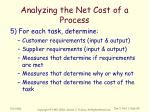 analyzing the net cost of a process4