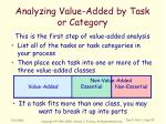 analyzing value added by task or category