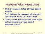 analyzing value added costs