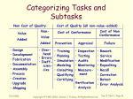 categorizing tasks and subtasks