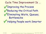 cycle time improvement is3