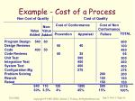 example cost of a process
