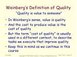 weinberg s definition of quality