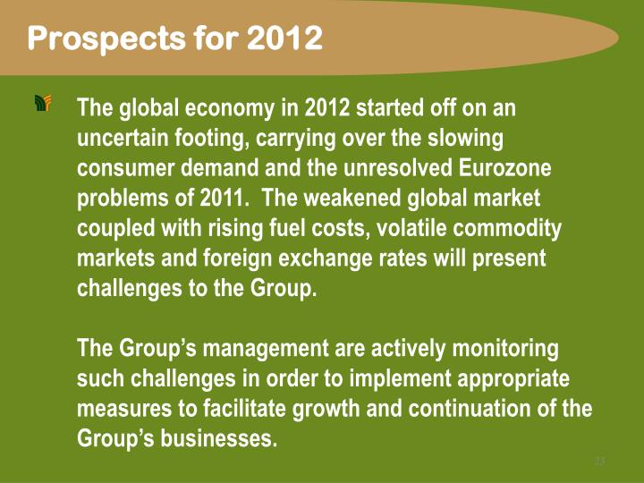 Prospects for 2012