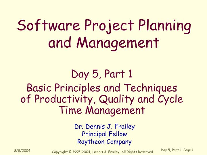 day 5 part 1 basic principles and techniques of productivity quality and cycle time management n.