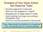 examples of non value added not essential tasks