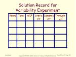 solution record for variability experiment