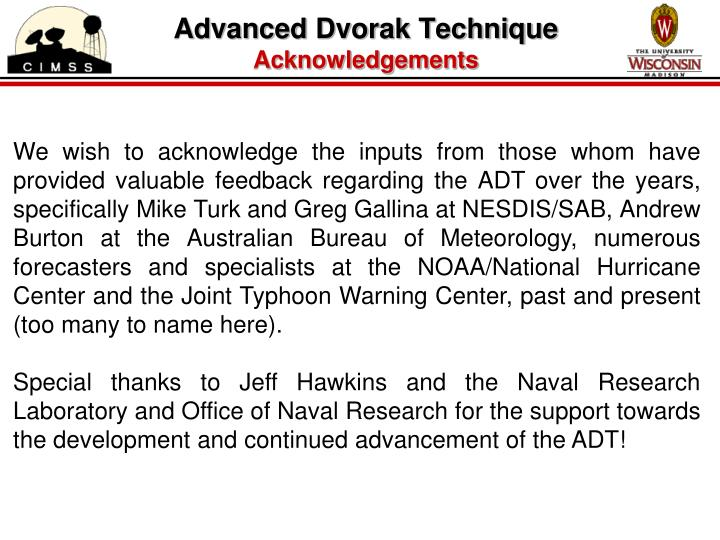 Advanced dvorak technique acknowledgements