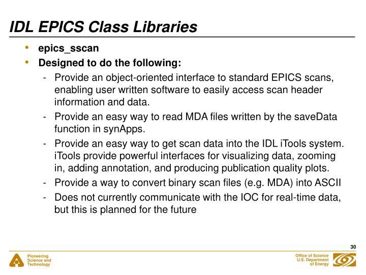 IDL EPICS Class Libraries