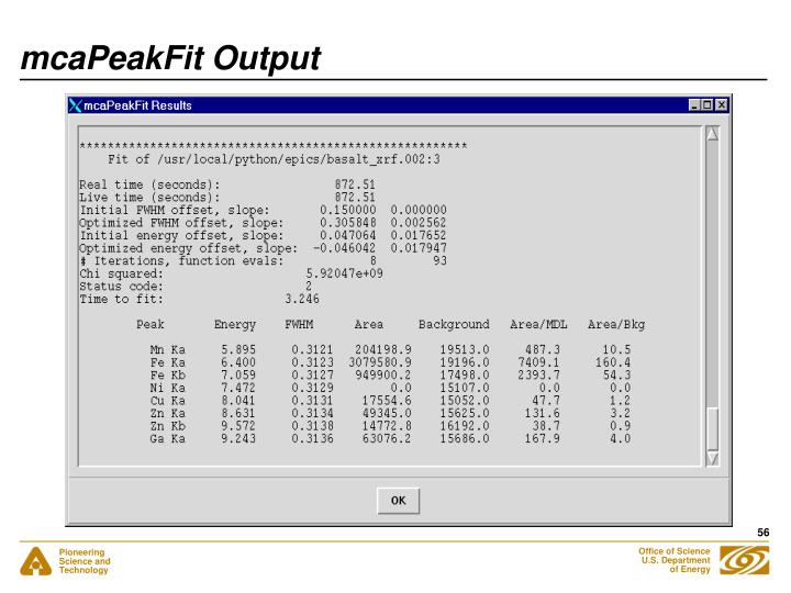 mcaPeakFit Output