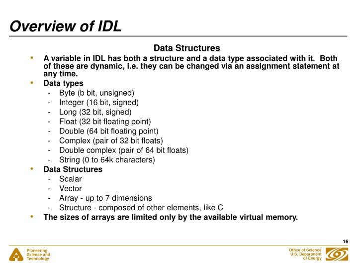 Overview of IDL