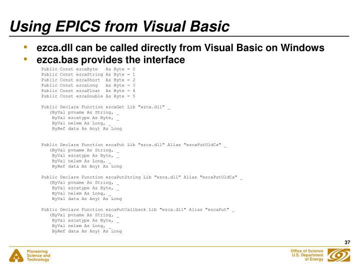 Using EPICS from Visual Basic