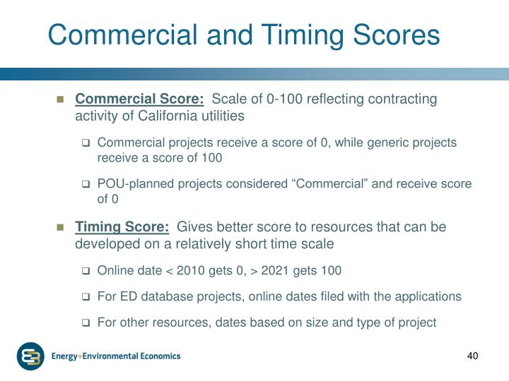 Commercial and Timing Scores