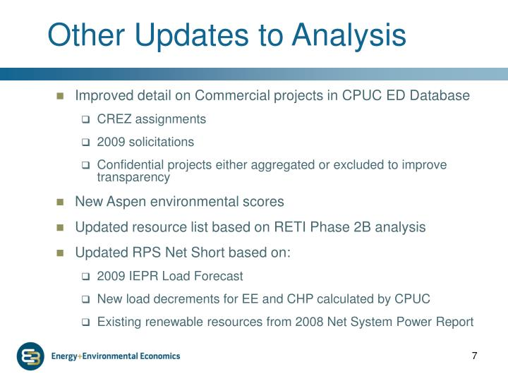 Other Updates to Analysis