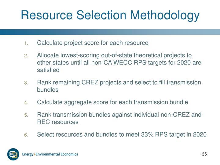 Resource Selection Methodology