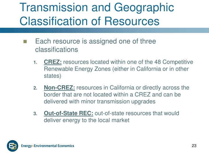 Transmission and Geographic Classification of Resources