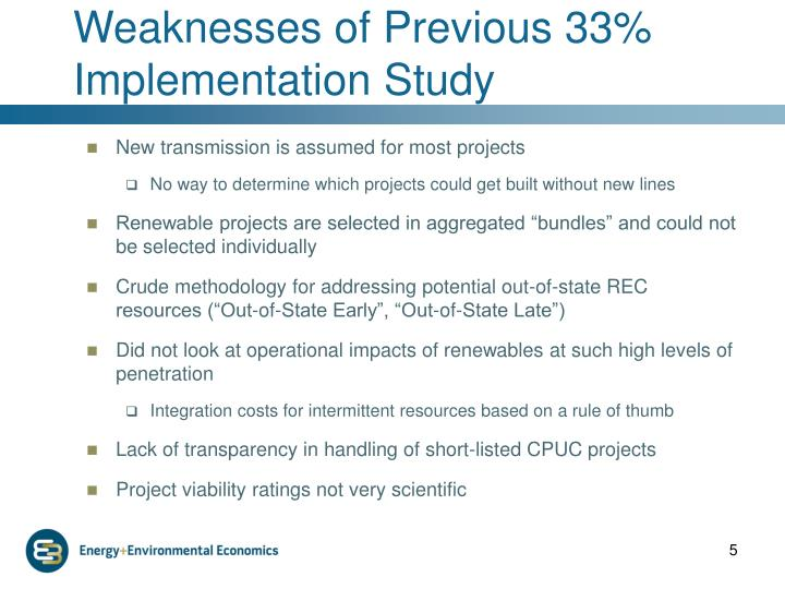Weaknesses of Previous 33% Implementation Study