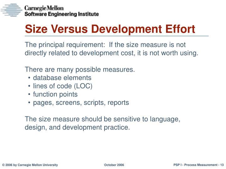 Size Versus Development Effort