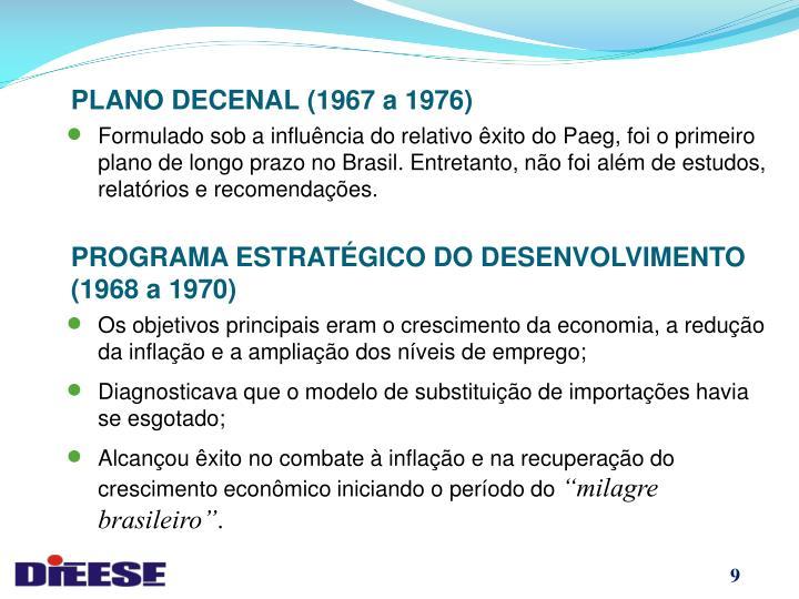 PLANO DECENAL (1967 a 1976)