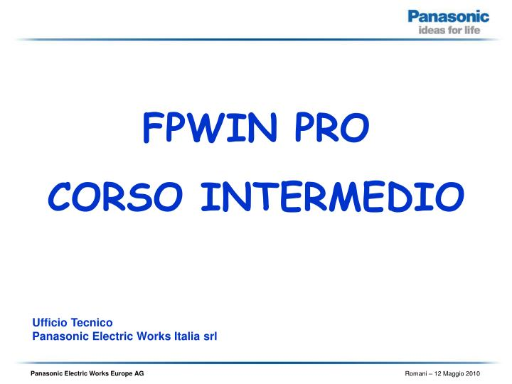 ufficio tecnico panasonic electric works italia srl n.