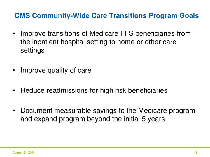 CMS Community-Wide Care Transitions Program Goals