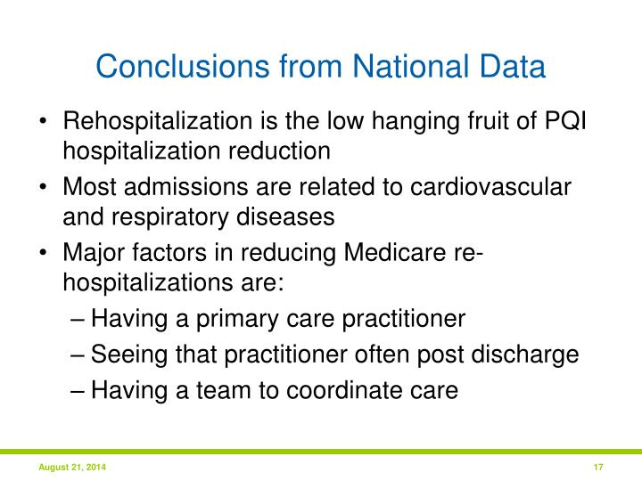 Conclusions from National Data