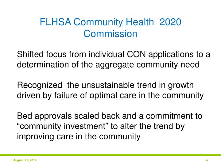 FLHSA Community Health  2020 Commission