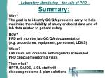 laboratory monitoring the role of ppd summary