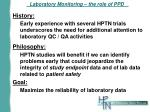 laboratory monitoring the role of ppd
