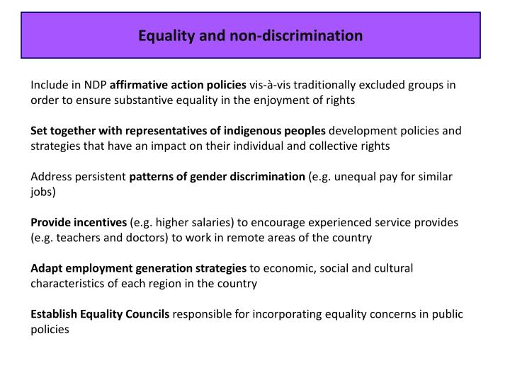 Equality and non-discrimination