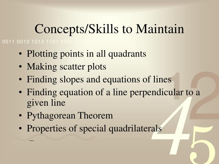 Concepts/Skills to Maintain