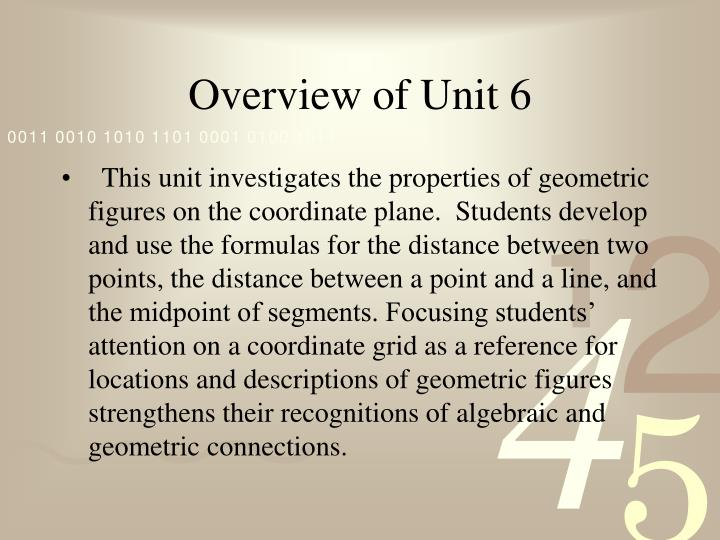 Overview of Unit 6