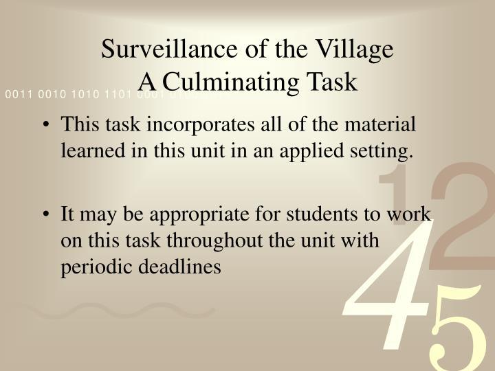 Surveillance of the Village