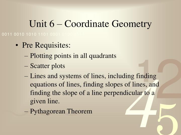 Unit 6 – Coordinate Geometry