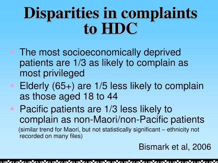 Disparities in complaints