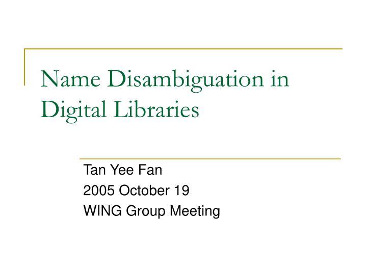 name disambiguation in digital libraries n.